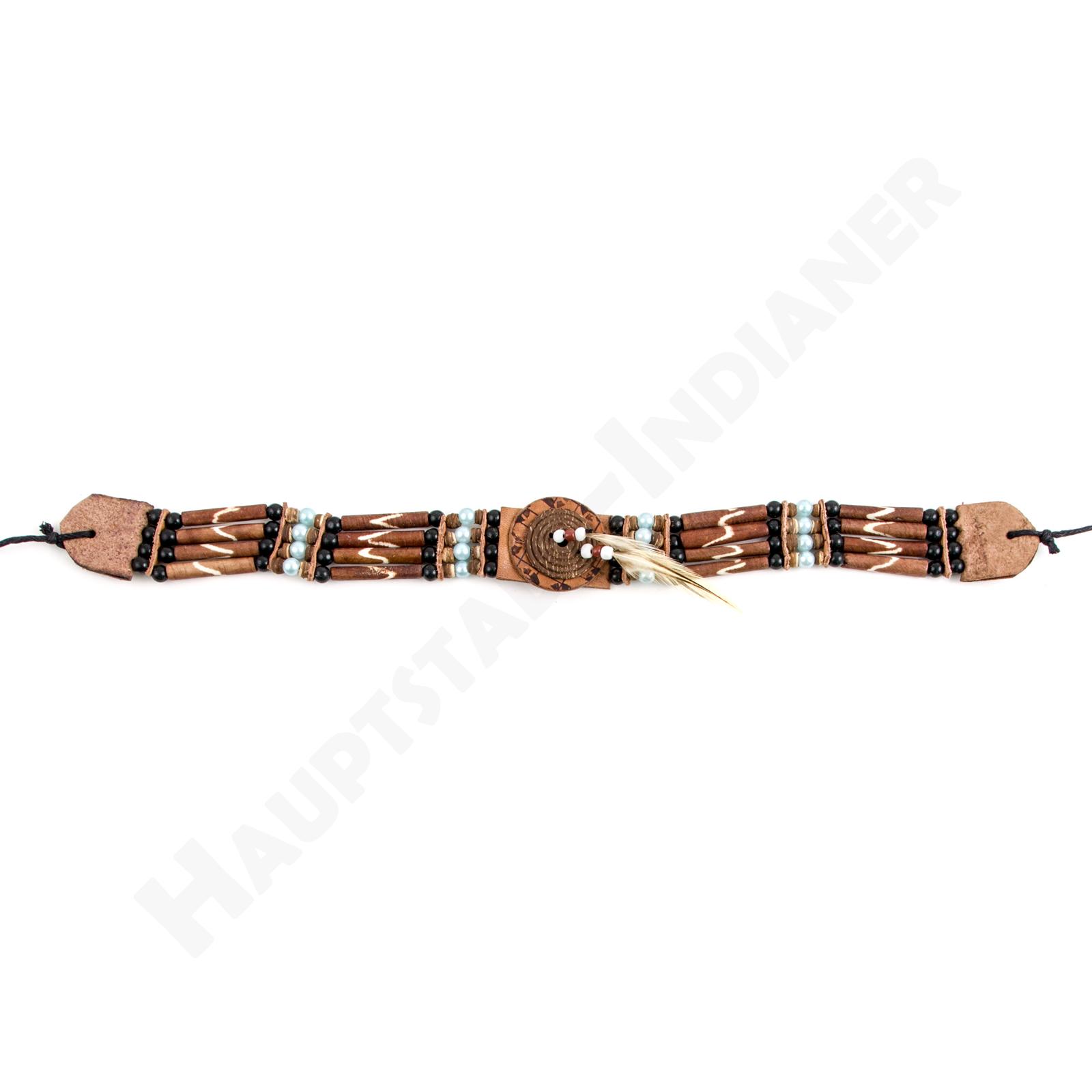 Indianer Halsband Halskette Choker Leder mit Perlen Federn und ...
